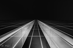 Tron (mathieuo1) Tags: street light urban white abstract black building art up lines architecture photography town nikon geometry style vert symmetry imagination precision inversion through tron shape rectangle towards perpective cinematographic straiight