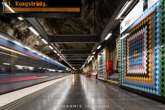 Vstra skogen Metro Station in Stockholm, Sweden (Ioannis Ioannou Photography) Tags: lights tiles vstraskogen fluorescent ioannisioannouphotography travel signs train reflections sweden stockholm scandinavia longexposure station metro sverige tbana