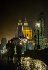 Rainy Charles's Bridge (rvtn) Tags: city people rain silhouette night umbrella lights europe prague praha czechrepublic charlesbridge stnicholaschurch karlvmost