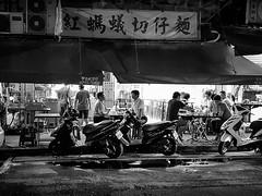 Dinner (GavinZ) Tags: cellphone blackandwhite bw monochrome night street restaurant food people taipei taiwan asia