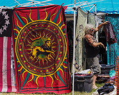Tapestry Vendor (tim.perdue) Tags: comfest 2016 community festival columbus ohio goodale park outdoor summer party short north victorian village downtown urban city tapestry vendor man person figure candid street colorful multicolored lion