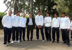 Mauricio Macri con el equipo argentino de Copa Davis