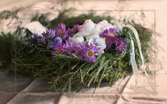 ANZAC Wreath (lilhouseonthehill) Tags: leica flowers colour green soft day purple kim cream lavender wreath fallen klassen m8 mm 50 summilux anzac missed muted sprig rosemarylinen