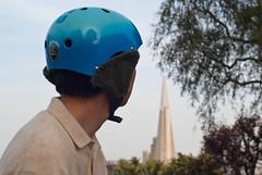 18380 Bike helmet earmuffs version 1, right side from rear (geekstinkbreath) Tags: sanfrancisco me helmet yarn earmuffs russianhill earmuff bikehelmet bicyclehelmet earwarmers earwarmer minolta50mm nutcasehelmet nutcasehelmets