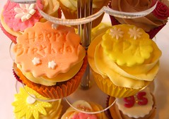 Happy Birthday and Ida Plaques (Wishing Well Cupcakes) Tags: birthday flowers roses daisies happy cupcakes stand acrylic message blossom name somerset well petal special colourful occasion wishing plaques sugarpaste