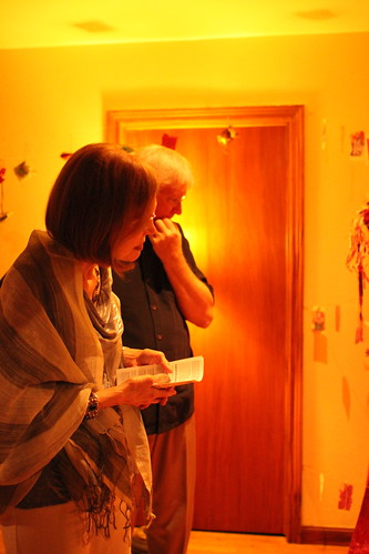Judith and Mike Peterson viewing Mary Margaret Henson's installation
