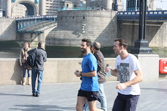 Joggers on the South Bank (thejollyroger) Tags: london sunshine thames towerbridge spring heat riverthames toweroflondon towerof towerbridgelondon march2012