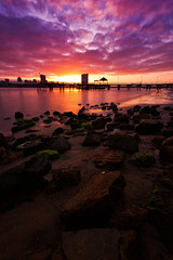 Coronado Island Sunrise [Explored] (boingyman.) Tags: longexposure sun seascape beach clouds sunrise canon landscape pier rocks cityscape scape 1022 waterscape uwa explored 10stop bw110 t2i boingyman