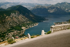 Bay of Kotor (Nuuttipukki) Tags: street panorama mountains water bay view fv5 serpentinen berge fv10 blick serpentine montenegro balkan kotor crnagora bayofkotor
