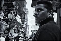 EAGLE EYE (joewig) Tags: street nyc bw man see blackwhite interestingness looking sight