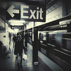 tunnel vision (fotobananas) Tags: nyc urban newyork train underground subway neon metro streetphotography tunnel vision ubahn exit s95 fotobananas