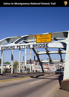 Edmund Pettus Bridge. In the movie, the actual bridge was used for the recreation of the marches (yes, there was more than one, until, under the guard of Federal troops sent by President Johnson, the marchers got safely across it and on their way to the s