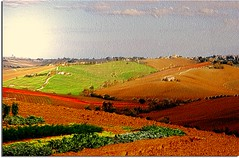 The colors of the Marche(region of Italy) 3D- technical test (Usc (OFF/I'm on vacation)) Tags: friends light red sky italy panorama sun green texture me nature colors yellow skyline clouds landscape photo europe country perspective marche jesi eugenio staffolo coppari paesaggimarchigiani bestcapturesaoi mygearandme my
