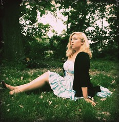 day 015. (H o l l y.) Tags: flowers blue trees summer portrait selfportrait storm green girl grass fashion vintage is day dress blonde come about lovely 100daysofsummer