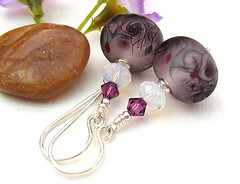 Blackcurrant Ice - Sold (Beguiled By The Bead) Tags: purple handmade swarovski earrings lampwork sterlingsilver jewelleryjewelry sabinelittle