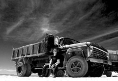 Truck stop (C.Preston Roberts) Tags: portrait blackandwhite bw man male car sunglasses truck portraits vintage glasses alone travellers biker wreck bikers salta jujuy argentino norteargentino kiwirider mygearandme mygearandmepremium
