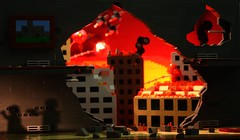 Los Angeles at Sunset (tin) Tags: shadow plane los fighter shadows lego angeles military jet perspective creation forced build bomb invasion own destroy moc my