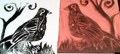 My first hand carved stamp with print.  I am thinking this could be addictive!