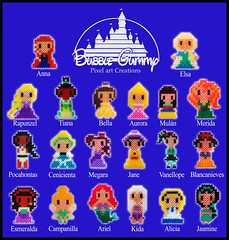 Disney (Bubble Gummy pixel art) Tags: disney pixelart hama perler disneyprincess 8bits hamabeads perlerbeads princesasdisney beadsprite
