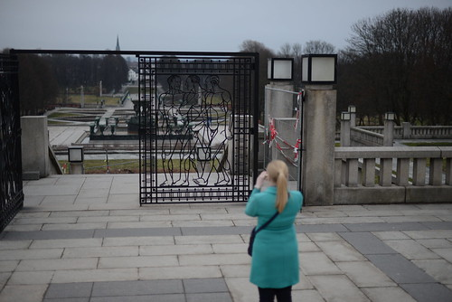 Mary photographing gate at Frogner Park, Oslo, Norway