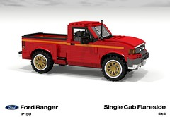 Ford P150 Ranger Flareside SingleCab Pickup (lego911) Tags: auto usa ford car america truck team model ranger lego offroad render 1996 4wd utility pickup ute 1990s cad v6 povray moc ldd p150 miniland flareside foitsop lego911