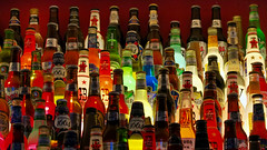 99 Bottles of Beer on the Wall (Mondmann) Tags: lighting beer colors bar restaurant pub colorful bottles korea international seoul tavern southkorea rok beerbottles myeongdong myongdong republicofkorea mondmann canonpowershotg7x