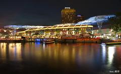 Clarke Quay at night (Ken Goh thanks for 2 Million views) Tags: lighting blue reflection water night river boats lights singapore long exposure colours pentax scene quay full hour frame colourful clarke k1 spentax da14