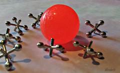 "Jacks for MacroMonday Theme ""When I was a child......"" (elizgely) Tags: game toy sidewalk redball theme jacks wheniwasachild macromonday picmonkey"