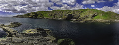 Cove Bay Scotland (Terry L Richmond) Tags: ocean uk panorama tourism clouds bay scotland rocks cove bluesky richmond hills rockyshore canon1740 canon6d