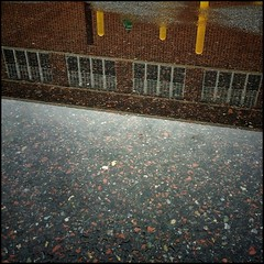 Window Reflections (Firery Broome) Tags: windows red brown black wet water rain tarmac yellow wall architecture reflections square landscape puddle gray cellphone pebbles brickwall delaware 365 newark phonephoto urbanlandscape apps rainwater iphone everydayobject ipad universityofdelaware windowreflections phoneography landscapereflection wallreflections architecturereflection squarelandscape iphoneography squarearchitecture ipaddarkroom snapseed windowwednesdays iphone5s newwallwednesday