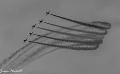 Red Arrows over Blackpool (jason hackett) Tags: sky bw clouds smoke jets planes