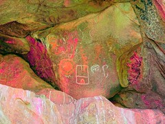 Old Woman Mountains Preserve, Painted Rock, Viewshed (darthjenni) Tags: rock stone native indian american petroglyph rockart pictograph chemehuevi