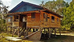 NATIVE HOUSE (canencia) Tags: wood old vacation brown green fun island wooden native philippines more bohol pinoy in dauis racs0706