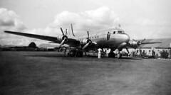 Pan Am DC4  at Nandi 1948 (D70) Tags: camera white black 1948 film hockey by fiji photo am airport tour kodak box father taken olympus pan nandi nadi 2100 copied