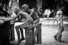 Screw you guys, I'm going home! (Shutterfreak ☮) Tags: street boy sculpture monochrome walking leaving nikon desk meeting dhaka bangladesh d5000 inkiad