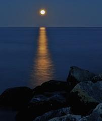 Rising Moon (imageClear) Tags: blue moon lake reflection water rock wisconsin gold golden pier nikon rocks nightscape nightshot boulder lakemichigan boulders moonlit moonrise moonlight sheboygan moonbeam shimmering risingmoon d7000