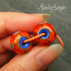 """Orange & Periwinkle Bright Lampwork Bead Pair • <a style=""""font-size:0.8em;"""" href=""""https://www.flickr.com/photos/37516896@N05/6997744873/"""" target=""""_blank"""">View on Flickr</a>"""