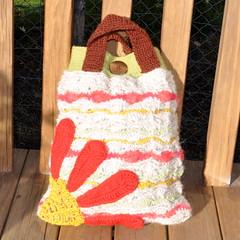 Crocheted handbag with Red Flower (Kiwi Little Things) Tags: flower handmade crochet handbag wavestitch