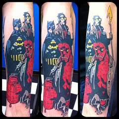 Sweet Mignola piece I did today! #tattoo #comicbook #hellboy #batman