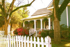 ~VICTORIAN COTTAGE~ (MaryLou1298) Tags: flowers trees porch summertime ferns pecan whitepicketfence victoriancottage gingerbreadtrim fencefriday raymondmississippi