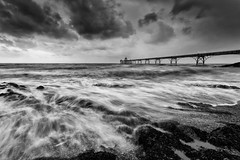 Stormy seas (images through a lens) Tags: uk england beach pier europe unitedkingdom britain stormy somerset coastal clevedon severnestuary