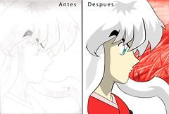 Antes y despues // Digitalizacion (TorresSantosR) Tags: anime colores dibujo inuyasha ilustracion digitalizacion