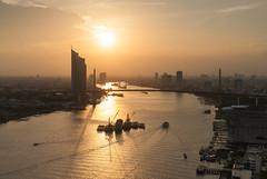 Sunset Time (Weerakarn) Tags: city sunset sky panorama beautiful river landscape thailand boat warm cityscape view bangkok chaophraya kbank ramaixbridge   weerakarn