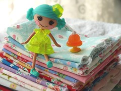 Mini Lalaoopsy Doll with Patchwork Japanese Fabric