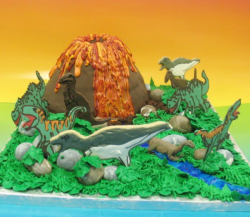 [Image from Flickr]:Volcano Dinosaur Cake- Serves 25