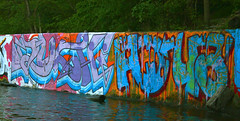 Much Aqua (The Braindead) Tags: art water minnesota wall train river bench photography graffiti interesting aqua flickr painted tracks minneapolis twin rail explore most beyond much hm the braindead cites ibd flickrs benched thebraindead