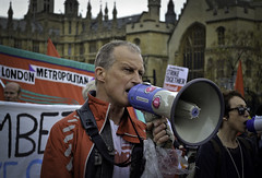 Speak up, Speak out! (Sven Loach) Tags: uk portrait england woman man building london westminster demo workers nikon britain 10 crowd protest may photojournalism housesofparliament solidarity strike banners economic cuts crisis m10 2012 placards shouting reportage megaphone solidarnosc pensions publicsector austerity d5100