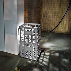 Double Crate Obstruction (Dr Abbate) Tags: longexposure shadow night square melbourne stack crate milkcrate
