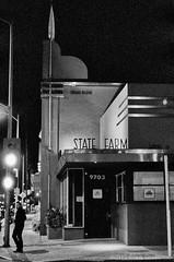 State Farm (Freeman Building) - Culver City - Nikon FM - Nikkor-SC 55mm F/1.2 - TMAX 3200 (divewizard) Tags: california blackandwhite bw white black slr blancoynegro film blanco night analog 35mm dark blackwhite analgica nikon tmax3200 noir noiretblanc kodak tmax availablelight negro 55mm artdeco statefarm 3200 fm blanc afterdark culvercity f12 pelcula losangelescounty nikonfm schwarzundweiss blackwhitephotos y44 nikkorsc chrisgrossman 55mmf12sc freemanbuilding nikkorsc55mmf12 fromexmarinadelrey nikkorsc nikkorsc55mmf12 artdecomodern 9703washingtonboulevard 9703washingtonblvd