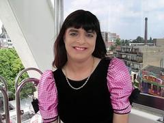 Smile (Paula Satijn) Tags: pink cute fun happy tv dress cd skirt tgirl ferriswheel satin funfair gurl cocktaildress